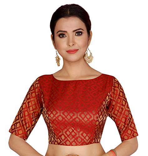 Studio Shringaar Women's Brocade Poly Silk Stitched Elbow Length Sleeves Saree Blouse (S2124, Maroon, Large)