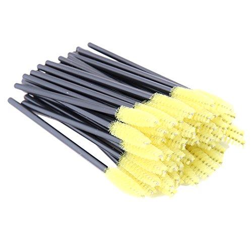 Xiaoyu 100pcs mousqueton jetable mèche brosse à sourcils à applicateur de cils - jaune