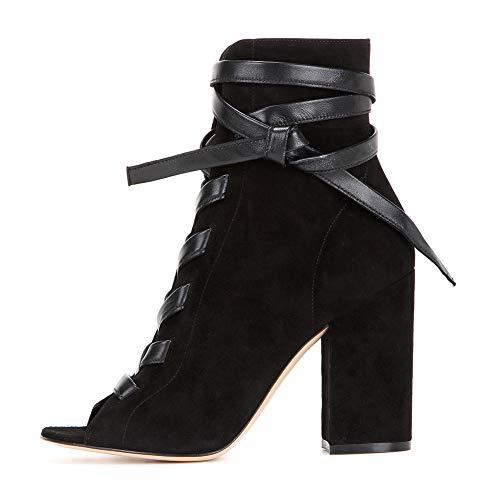 Damenschuhe Wildleder Stiefeletten Schnürstiefeletten, MWOOOK-1133 Lässige Kurz Tube Stiefel Chelsea Boots Elegante Heels Stiefeletten,Schwarz,37EU