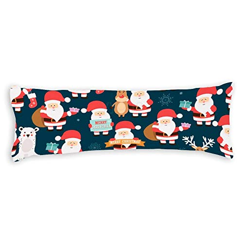 YY-one Decorative Body Pillow Cover Christmas Seamless Pattern with Santa Claus Long Body Pillow Case 20x60 Inch