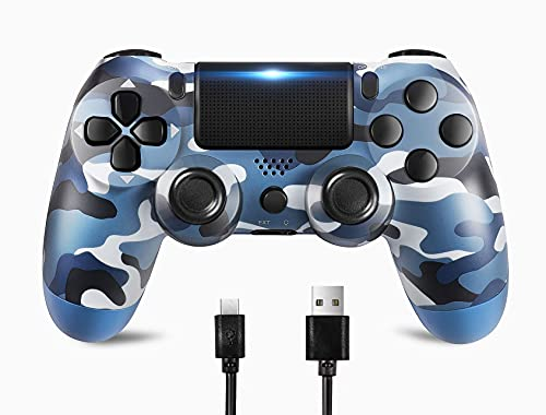Donop Wireless Controller Compatible For PS4 / Slim / Pro console, Double Vibration, 6-Axis Gyro Sensor, Speaker, Built-in Audio Jack with charging cable (Blue camouflage)