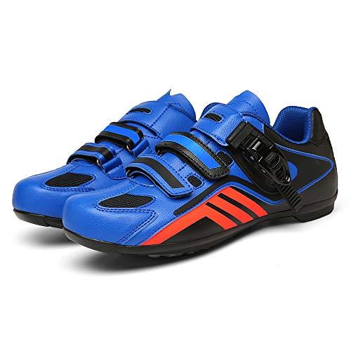 Zapatillas de Ciclismo de MTB para Hombre Zapatillas de Bicicleta de Deporte al Aire Libre Zapatillas de Bicicleta de Carretera de Carreras Profesionales con autobloqueo(Size:43,Color:azul negro)