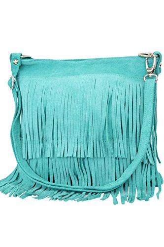 AMBRA Moda Damen Handtasche Ledertasche Umhängetasche Fransentasche Schultertasche Damentasche Wildleder 32 cm x 29 cm x 2 cm WL809 (Türkis)