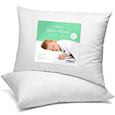 Celeep Baby Pillow Set [2-Pack] - 13 x 18 Inches Organic Toddler Bedding Small Pillow - Baby Pillow with 100% Natural Cotton Cover by Equinox International