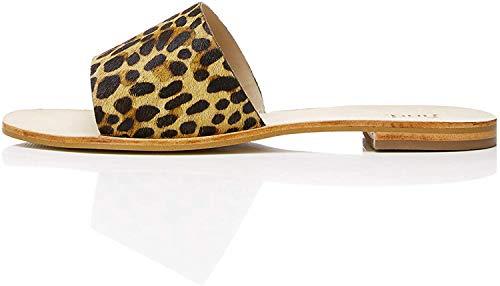 find. Simple Slide Leather Sandalias con Punta Abierta, Marrón Leopard, 39 EU