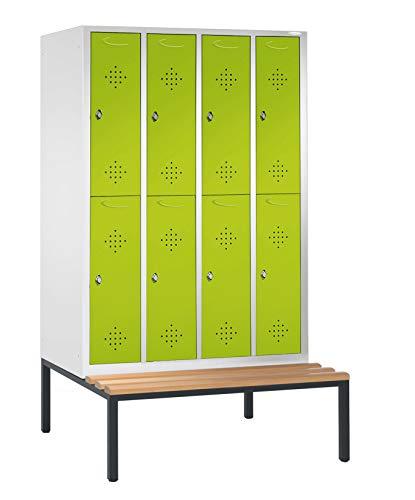 Perchero Armario/taquilla Divide con 4columnas/8compartimentos en asiento Banco estructura–2090mm x 1590mm x 815mm–Verde línea de taquilla Max