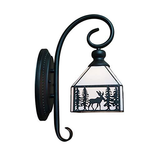 YINGGEXU Lámpara de Pared de Aplique de la Pared de la Vendimia nórdica Americana de Estilo rústico de la Sala ala del balcón de una Sola Cabeza lámpara de Pared Hierro, Negro Decorativo