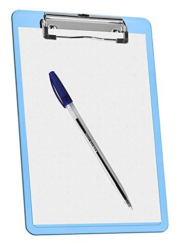 """Acrimet Clipboard Memo Size A5 (9 1/4"""" x 6 5/16"""") Low Profile Clip (Plastic) (Clear Blue Color) (3 Pack) Photo #7"""
