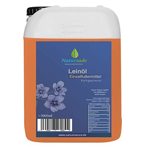 Naturzade Leinöl 3 Liter Premium Qualität 100% rein, kaltgepresst für Pferde & Hunde