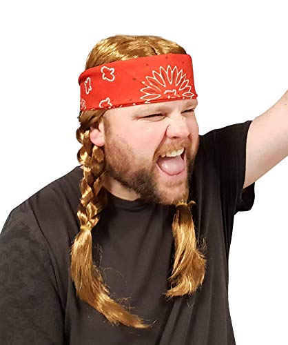 Willie Braided Wig with Cowboy Red Bandana - Hillbilly Country Red Neck Hippie Costume