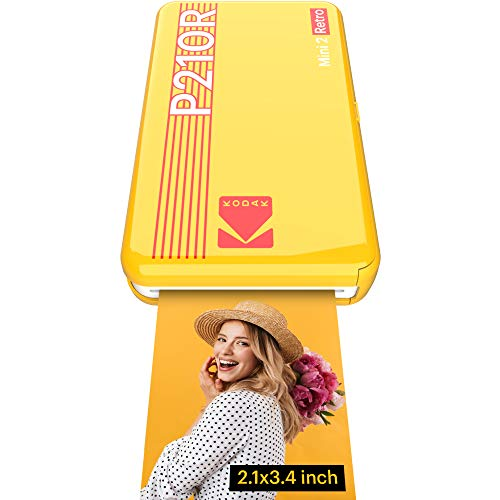 "Kodak Mini 2 Retro Portable Instant Photo Printer, Wireless Connection, Compatible with iOS, Android & Bluetooth, Real Photo (2.1 ""x3.4""), 4Pass Technology & Lamination Process, Premium Quality-Yellow"