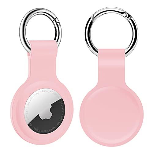 ICARERSPACE Schlüsselanhänger aus Silikon, kompatibel mit Apple AirTag (2021), Abdeckung gegen Verlust, weich & flexibel, kratzfest, starkes Signal, Pink