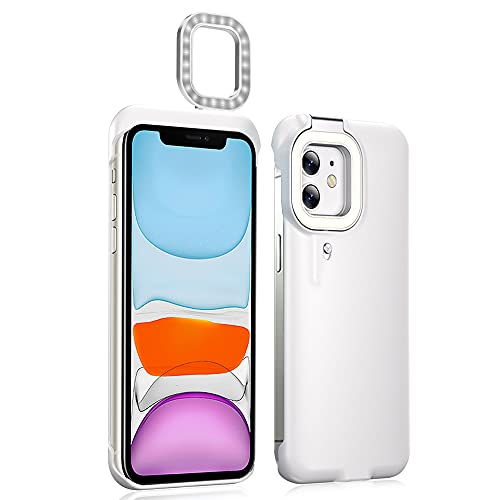 iPhone 11 Selfie Ring Light Case, Akcoo 4 Light Models LED Flash Cover [Bulit-in Battery] for Make up/Vlogs/Live Stream