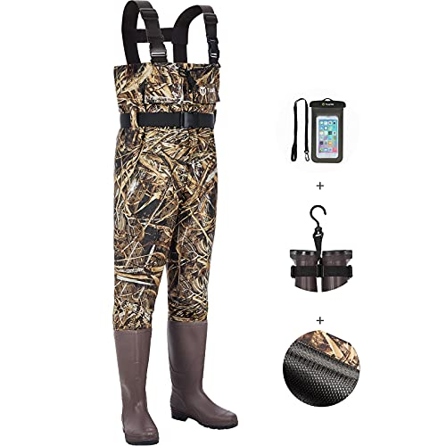 TIDEWE Chest Waders Upgraded with Mesh Lining, Realtree Max 5 Camo Waterproof Waders for Fishing & Hunting, Bootfoot PVC Waders with Boot Hanger for Men & Women (Size 5)