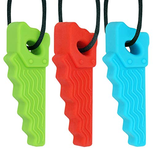 Sensory Chew Necklace for Boys and Girls with Autism (Pack of 3), Panny and Mody Silicone Saw Pendant - Oral Motor Therapy Tools Autistic Toys for Kids (Blue/Green/Red