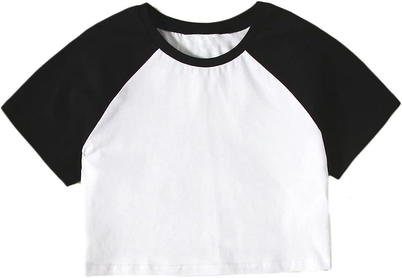 Floerns Girls Casual Colorblock Raglan Short Sleeve Round Neck Crop T Shirt