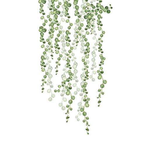 Palo De Pared, Calcomanía De Pared De Hojas De Vid De Eucalipto De Plantas Verdes, Decoración Arte Pared Acuarela Extraíble Pelar Y Pegar Pegatina Pared Decoración M