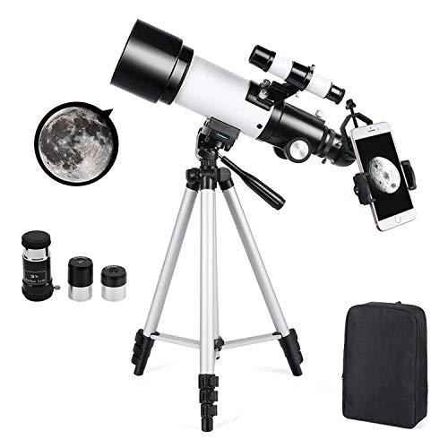 Astronomisches Teleskop Zoom HD 400/70 mm Hoher Vergrößerungsbereich mit Stativ, Tragbar, Ausgestattet mit Rucksack und Smartphone - Adapter für Erwachsene, Kinder und Anfänger - Ranipobo