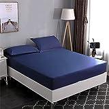 Haiba Comfort Jersey - Sábana bajera ajustable (algodón, sábana bajera, 180 x 200 cm + 30 cm), color azul