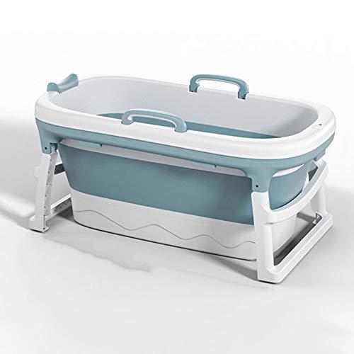 Bañera Plegable Adulto portátil Adulto bañera pequeña plástico Plegable bañera Adulto Grande plástico bañera de Ducha 120x52x62cm,Azul