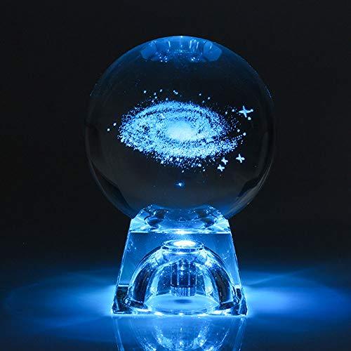 yuandp 6cm Sistema Solar Galaxy Grabado en 3D Lámpara de Cristal Luz Nocturna Luz Luminosa Artesanía Esfera Redonda Mesa de Oficina en casa Lámpara de decoración Regalo