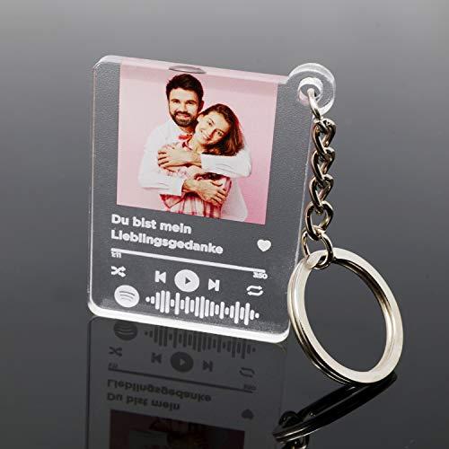 MyPrezzie Schlüsselanhänger im Spotify Song Cover Design personalisiert mit deinem eigenem Foto/Bild, Wunschtext (Titel, Interpret) und einem Spotify Code