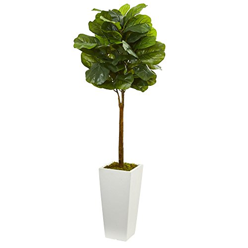 "Nearly Natural Artificial 4†Fiddle Leaf Tree in White Tower Planter, Green,16""D x 16""W x 4"