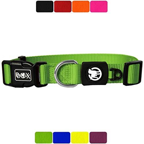 DDOXX Hundehalsband Nylon, verstellbar | viele Farben & Größen | für kleine & große Hunde | Halsband Hund Katze Welpe | Hunde-Halsbänder breit | Katzen-Halsband klein | Grün, S
