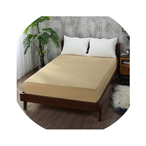 ZYLASTORE 1Pcs Fitted Sheet Solid Color Bed Sheets with Elastic Band Double Queen Size 160Cm200Cm Mattress Cover 100% Polyester,Khaki,160X200X25Cm