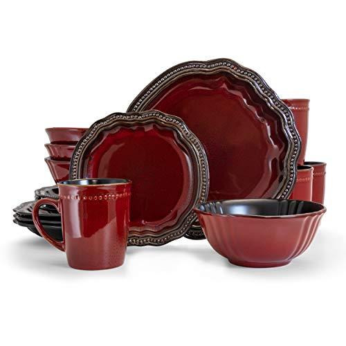 Elama Round Oval Stoneware Fine Dining Dinnerware Dish Set, 16 Piece, Dark Red with Bronze Accents