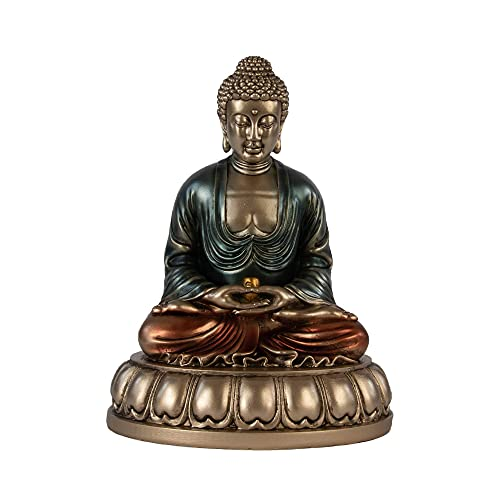 Shakyamuni Buddha Statue 10.5' Tall Indoor Home Room Office Desk Zen Meditation Decor Collectable Figurine for Spiritual Room or Yoga. Hand Painted Bronze Color. Serene Energy
