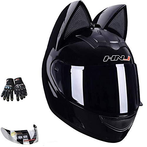Wangbadan Cat Ear Motorcycle Helmet,Men and Women Cool Cute Cat Full Face Helmet,DOT/FMVSS-218 Certification Standard,Suitable for All Seasons,Black,L