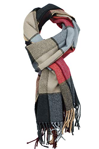 Achillea Scottish Tartan Plaid Cashmere Feel Winter Warm Scarf Unisex Camel Grey Multi Windowpane