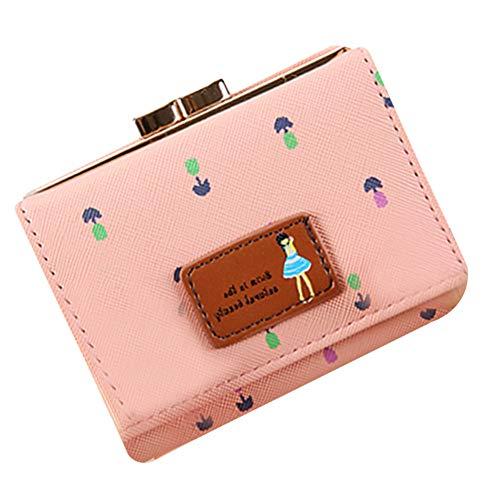 SKYXIU Lindo monedero de moda cartera embrague bolsas pequeño monedero corto monedero de cuero de la PU cartera de la tarjeta impermeable, Pink, 1,