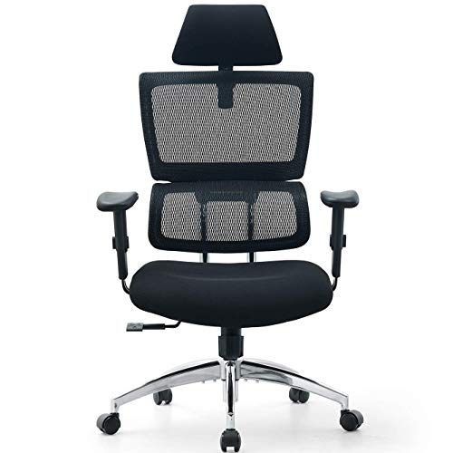 Ticova Ergonomic Office Chair - High Back Desk Chair with Elastic Lumbar Support & Thick Seat Cushion - 140°Reclining & Rocking Mesh Computer Chair with Adjustable Headrest, Armrest
