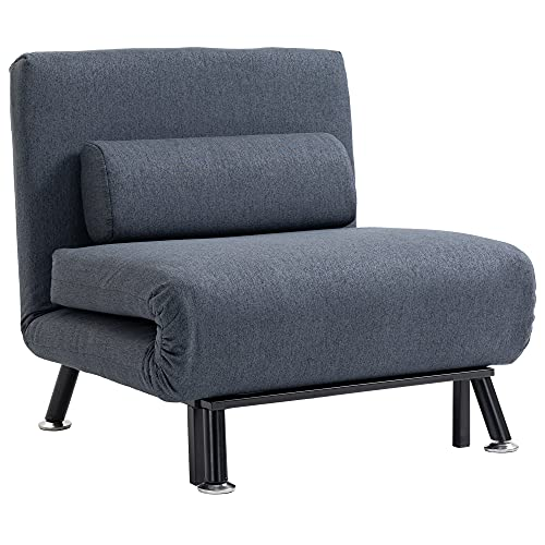 HOMCOM Single Sofa Bed Sleeper Foldable Portable Pillow Lounge Couch Living Room Furniture - Dark Grey