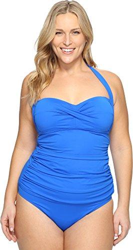 Lauren Ralph Lauren Damen Übergröße Beach Club Neckholder Blau Badeanzug Top