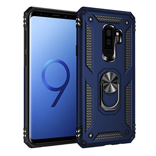 Capa Samsung Galaxy S9 Plus Case Protetor Material militar TPU macio +couro de PC proteção dupla camada de metal magnético para carro Suporte 360 graus girado anti-queda e anti-riscos capa:Azul