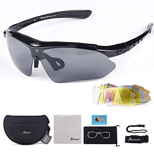 Adkwse Sportbrillen Fahrradbrille Damen Herren Polarisierte UV400 Schutz mit 5 Wechselgläser Radbrillen für Outdoor-Sport Radfahren,Angeln,Laufen,Wandern,Golf
