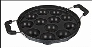 Kuber Industries™ Heavy Weight Non-Stick 12 Cavity Appam Patra Side Handle with lid, Black
