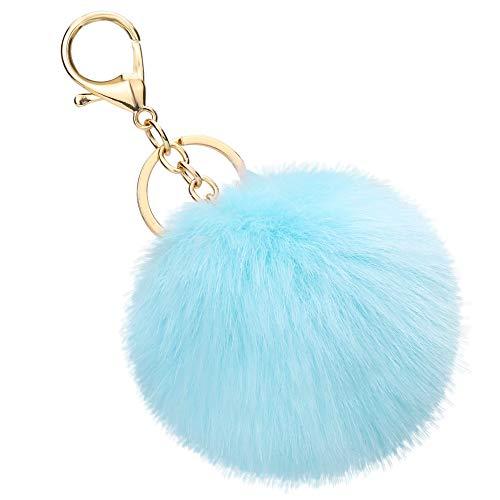 Soleebee Künstliche Kaninchenfell Keychain Flauschigen Ball Pom Pom Schlüsselanhänger Taschen Koffer Rucksäcke Zubehör Charm Auto Schlüsselanhänger Schlüsselring für Frauen Mädchen (Himmelblau)