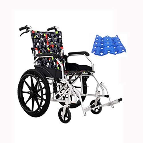 """ZZR Rollstuhl Leichtes zusammenklappbares 120 kg-Gewicht Tragkraft 20\""""Festes Hinterrad 45 cm breiter Sitz, tragbarer Schieberollstuhl für ältere Erwachsene, Begleitrollstuhl"""