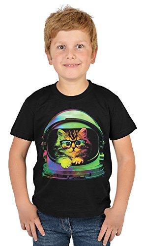 Kätzchen/Jungen-Shirt/Kinder-Shirt mit Katzen-Druck: Space Kitten - Tolles Geschenk-Cooler Look/kräftige Farben