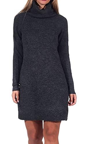 Only ONLJANA L/S COWLNCK Dress Wool Knt Noos Vestito, Grigio (Dark Grey Melange Dark Grey Melange), 48 (Taglia Produttore: X-Large) Donna