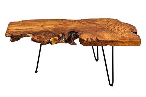 DuNord Design Couchtisch Baumstamm Wohnzimmertisch Akazie Massiv Holztisch Tisch 100cm