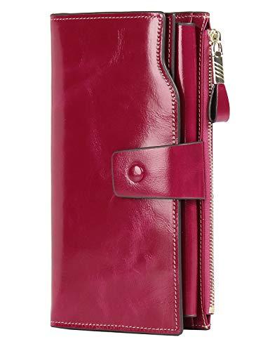 PARVENZA Damen Geldbörse RFID Schutz Portemonnaie Wachs Echtes Leder Geldtasche Rosa PVZ0702R