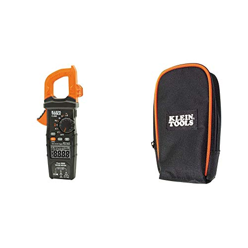 Klein Tools CL800 Electrical Tester, Digital Clamp Meter AC/DC Auto-Ranging 600 Amp Measures Voltage, Resistance, Temp, More & 69401 Multimeter Carrying Case