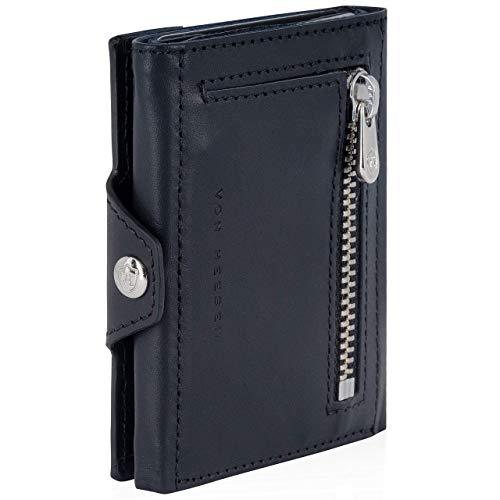 VON HEESEN Slim Wallet mit Münzfach - Mini Kartenetui mit RFID Schutz - Leder Geldbörse Herren klein - Geldbeutel Männer Kreditkartenetui Geld Clip Portemonnaie Portmonee (Schwarz)