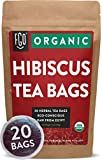 Organic Hibiscus Tea Bags | 20 Tea Bags | Eco-Conscious Tea Bags in Kraft Bag | Raw from Egypt | by FGO