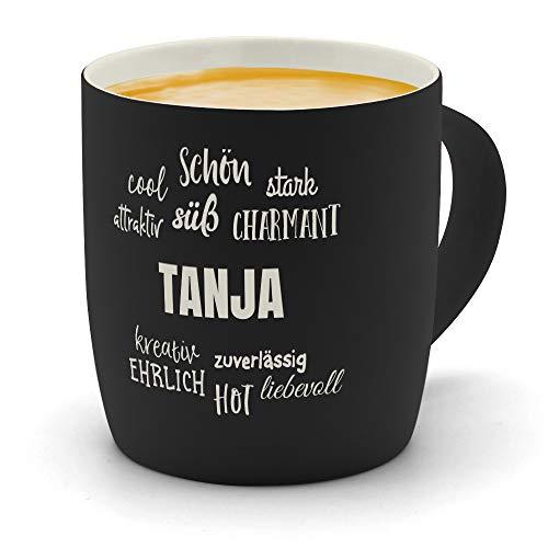 printplanet - Kaffeebecher mit Namen Tanja graviert - SoftTouch Tasse mit Gravur Design Positive Eigenschaften - Matt-gummierte Oberfläche - Farbe Schwarz
